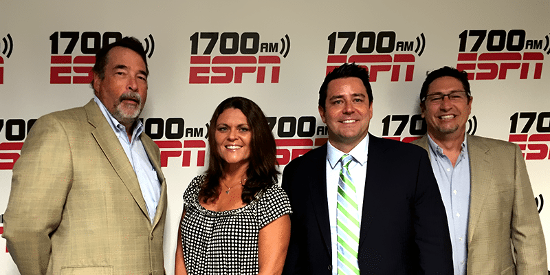 From left to right: Ralph Peters, Soledad Ramirez, Rick Enrico, and Jack Rowell at 1700AM ESPN Radio.