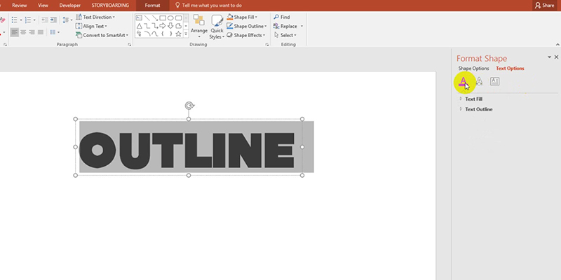 Outline Text Fonts in PowerPoint 2013 Tips: Fill text and outline